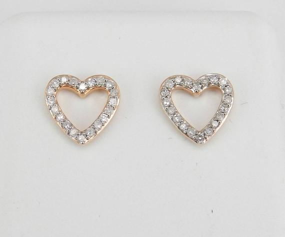 Diamond Heart Stud Earrings Wedding Studs Love Gift 14K Rose Gold Cluster