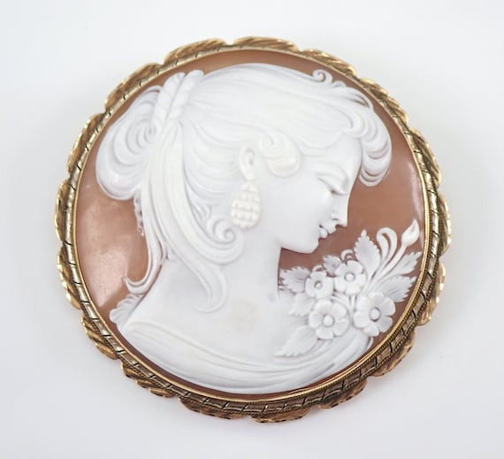 Antique Vintage 14K Yellow Gold Large Cameo Brooch Pin Pendant 2.25""