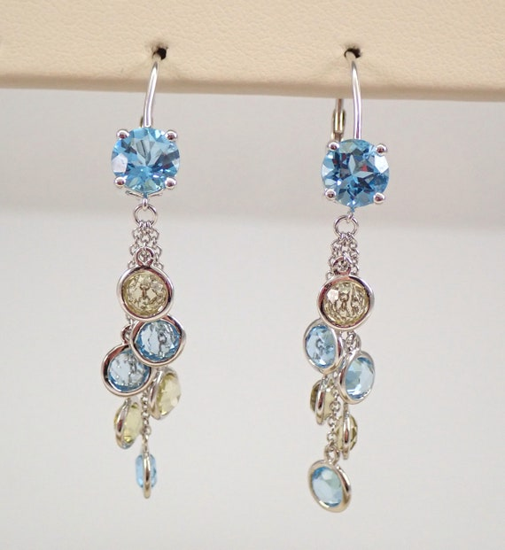 Blue Topaz Peridot Dangle Drop Earrings 14K White Gold Leverback Clasps