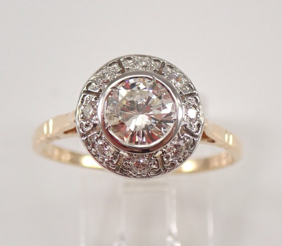 Antique 14K Yellow and White Gold Diamond Halo Engagement Ring Size 8.75