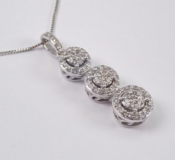 "Diamond Three Stone Cluster Pendant White Gold Wedding Necklace Chain 18"" Past Present Future"