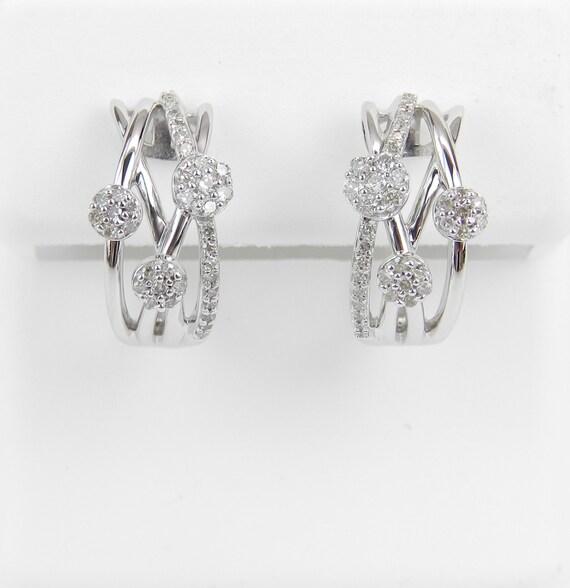 White Gold Diamond Hoop Earrings Diamond Cluster Hoops