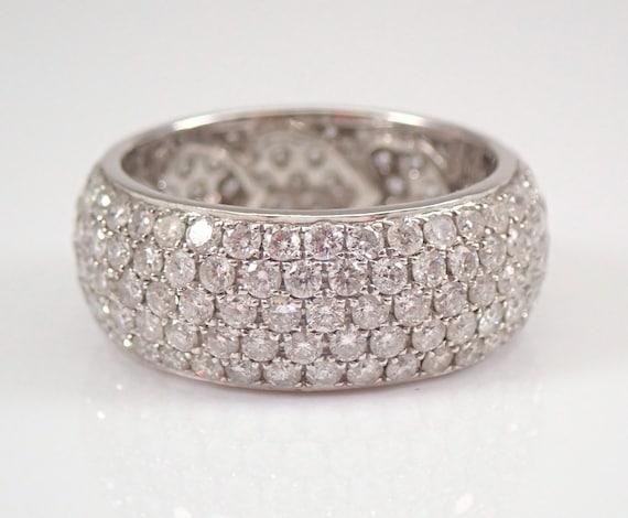 18K White Gold 3.39 ct Diamond Eternity Wedding Ring Anniversary Band Size 7 Pave Set