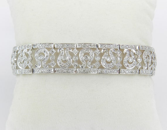 18K White Gold Diamond Tennis Bracelet Wide Fashion Bracelet Unique Design
