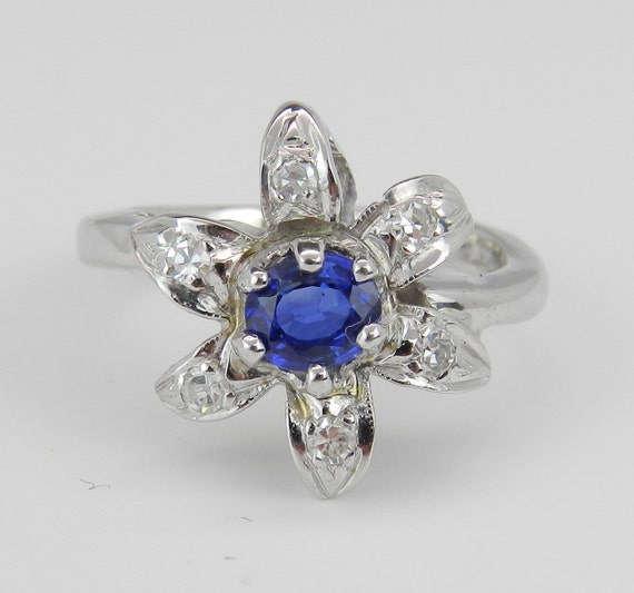 SALE PRICE! Sapphire Flower Ring, Diamond and Blue Sapphire Ring Estate Vintage Ring 14K White Gold Right Hand Ring FREE Sizing