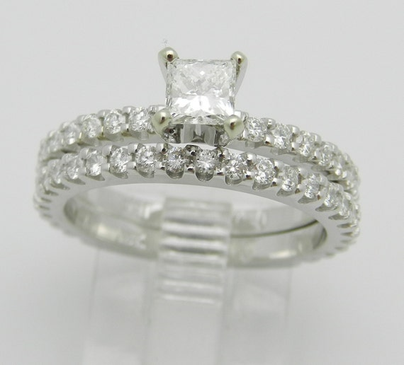 1.32 ct Princess-Cut Diamond Engagement and Wedding Ring Set 18K White Gold Size 6.5