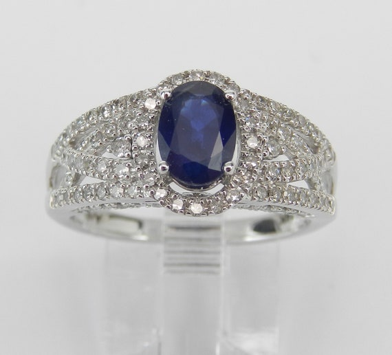 Diamond and Sapphire Halo Engagement Promise Ring 14K White Gold Size 7 September Birthstone