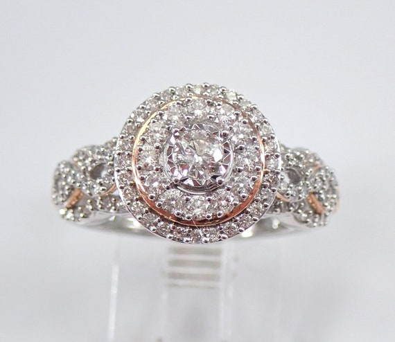 White and Rose Gold Diamond Halo Engagement Ring Size 6.5 Modern Cluster Design