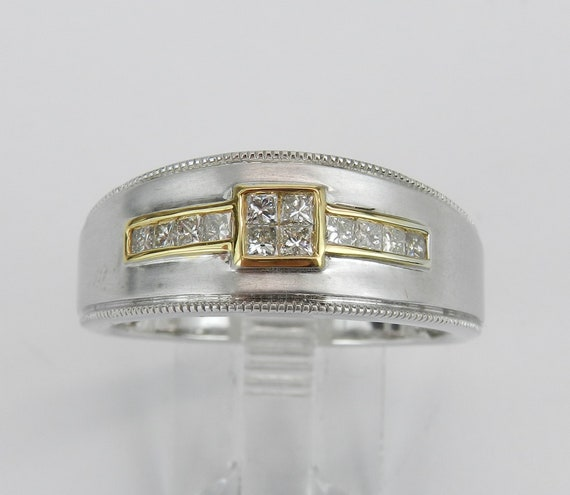 Mens Princess Cut Diamond Wedding Ring Two Tone Satin Finish Gold Millgrain Anniversary Band Size 10.5