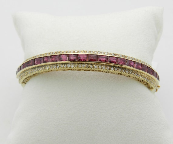 Ruby Bangle Bracelet, Ruby and Diamond Bracelet, Vintage Bracelet, 18K Yellow Gold Antique Bangle
