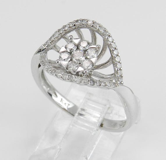 Diamond Cluster Ring, Unique Promise Ring, White Gold Right Hand Ring, Natural Diamond Ring, Size 7 FREE Sizing