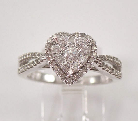 Diamond Cluster Heart Ring Halo Promise Engagement Ring White Gold Size 7 Marriage Proposal FREE Sizing