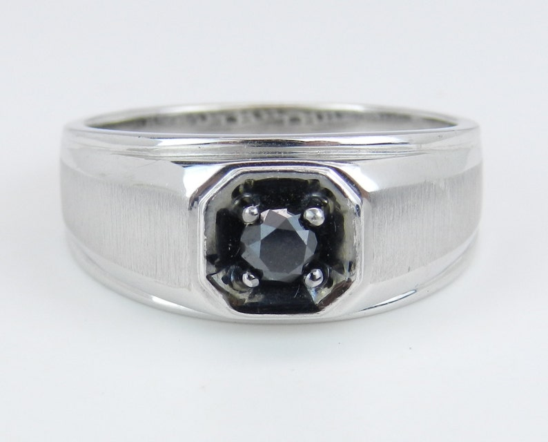 5e96979483fc4 Mens Solitaire Black Diamond Engagement Pinky Ring White Gold Size 10.75