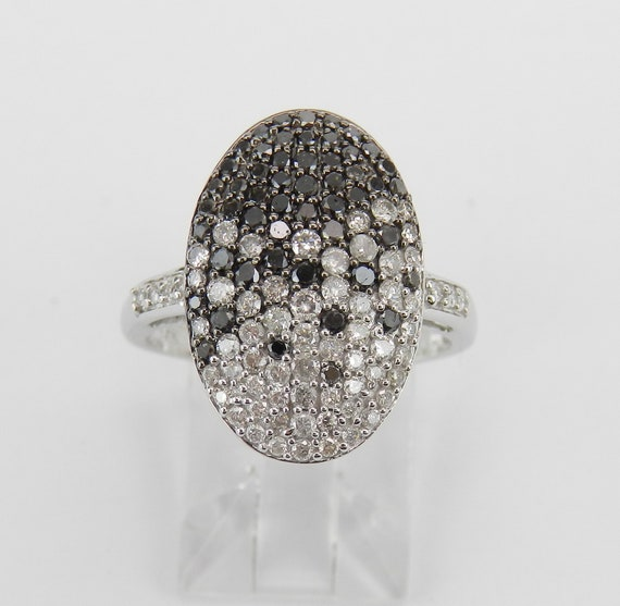 14K White Gold 1.00 ct Black and White Diamond Cluster Ring Index Middle Finger Ring Size 7