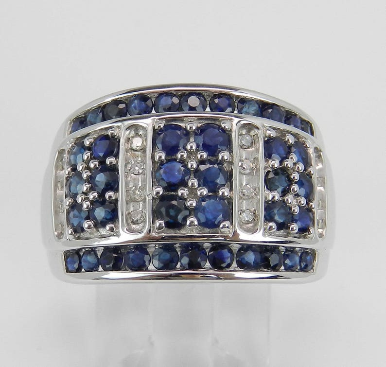 Diamond and Sapphire Ring Wide Diamond Band Wide Sapphire image 0