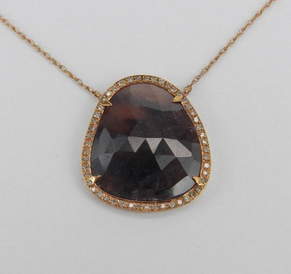 "Unique 14K Rose Gold Amethyst Slice and Diamond Halo Pendant Necklace 18"" Chain"