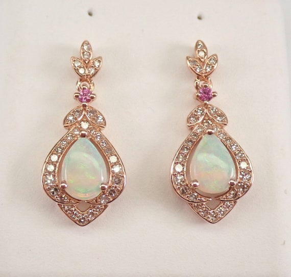 Rose Gold Opal Pink Sapphire and Diamond Drop Cluster Earrings Wedding Gift