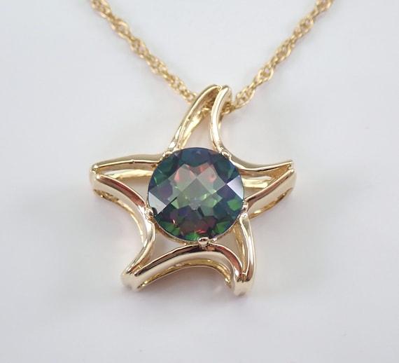 "14K Yellow Gold Round Mystic Topaz STAR Starfish Necklace Pendant 18"" Chain"