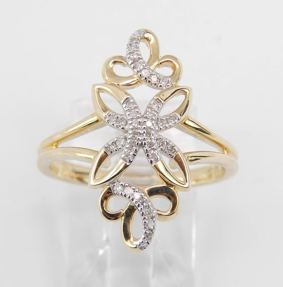 Diamond Filigree Ring, Diamond Cluster Ring, Yellow Gold Cocktail Ring, Vintage Style Gold Ring, Antique Style Diamond Ring, Size 7