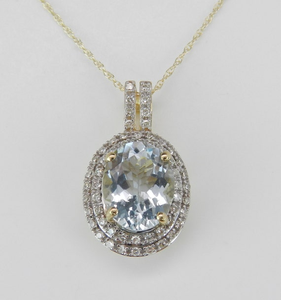 "Diamond and Aquamarine Necklace, Diamond Halo Pendant, Aquamarine Pendant, 18"" Yellow Gold Chain, Aqua Pendant, March Birthstone"