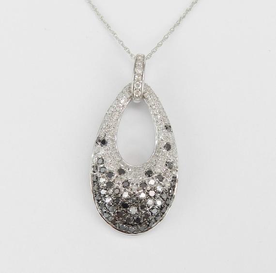 "1 ct White and Black Diamond Cluster Pendant Necklace White Gold 18"" Chain"