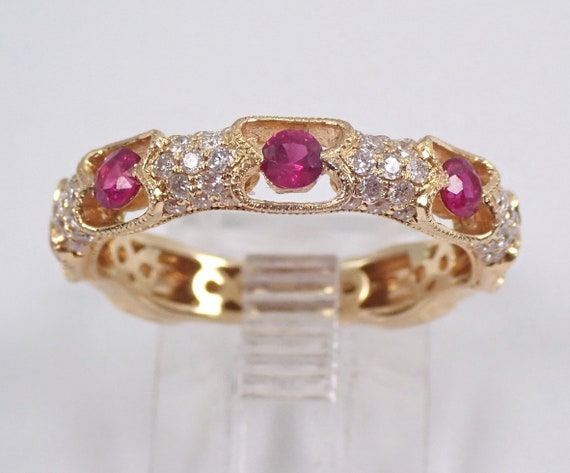 14K Yellow Gold Ruby and Diamond Wedding Ring Anniversary Eternity Band Size 6.75 Stackable July Birthstone