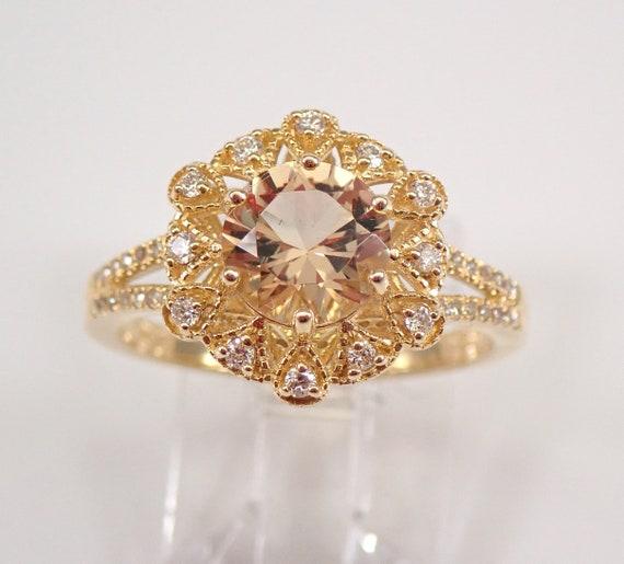 Yellow Beryl and Diamond Halo Engagement Ring 14K Yellow Gold Size 7 FREE SIZING