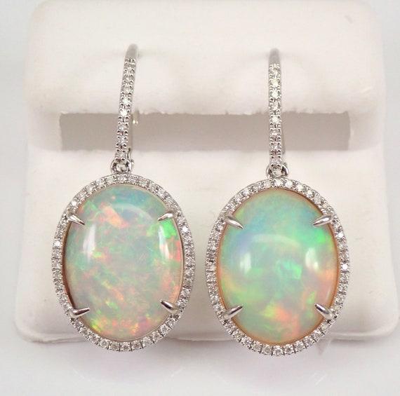 14K White Gold 11.92 ct Opal and Diamond Halo Dangle Earrings October Gemstone