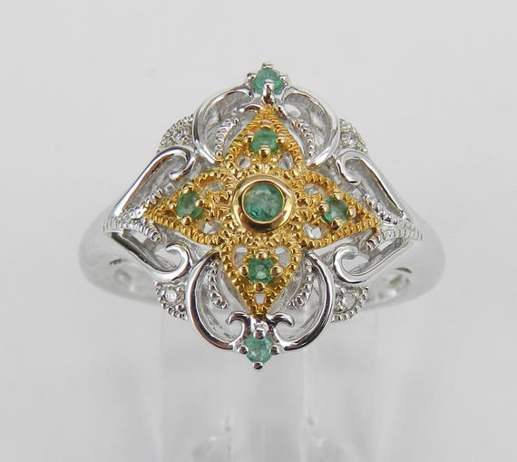 Vintage Style Ring, Diamond and Emerald Ring, White and Yellow Gold Ring, Diamond and Emerald Cluster Ring, Antique Style Ring, Size 6.75