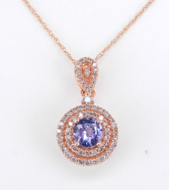 "Diamond and Tanzanite Necklace, Double Halo Diamond Pendant, Rose Gold Necklace,Wedding Gift, 18"" Chain December Birthstone"