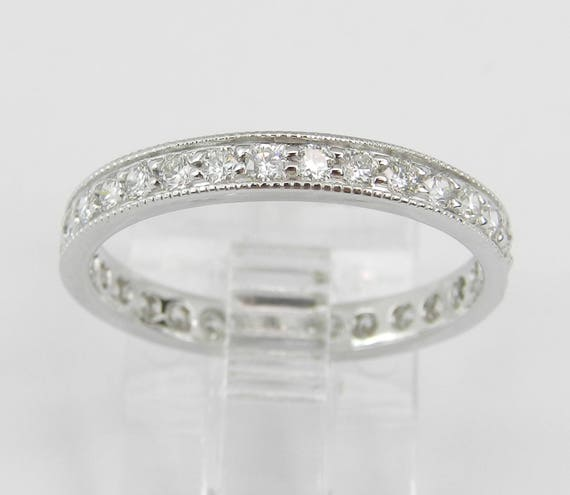 Diamond Eternity Ring, Diamond Wedding Ring, Diamond Anniversary Band, 14K White Gold Stackable Ring, Size 5.75 G-VS