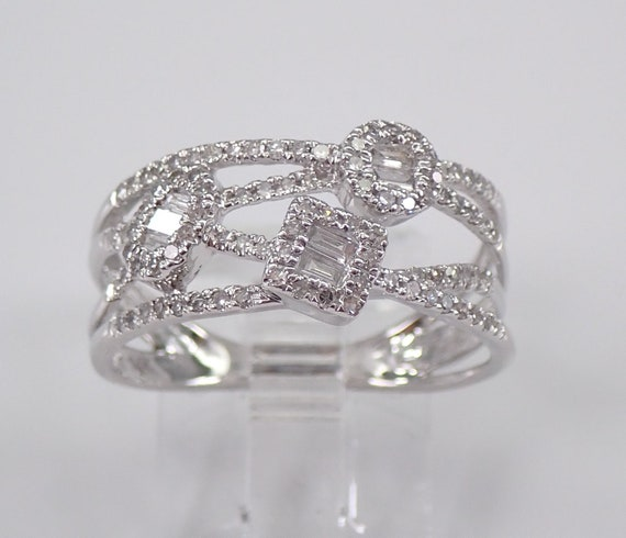 14K White Gold Diamond Multi Row Ring Cluster Anniversary Band Size 7.5