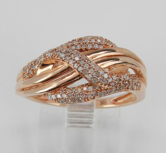 Rose Gold Diamond Ring, Right Hand Cocktail Ring, Anniversary Crossover Band, Pink Gold Diamond Ring, Size 6.75 FREE Sizing
