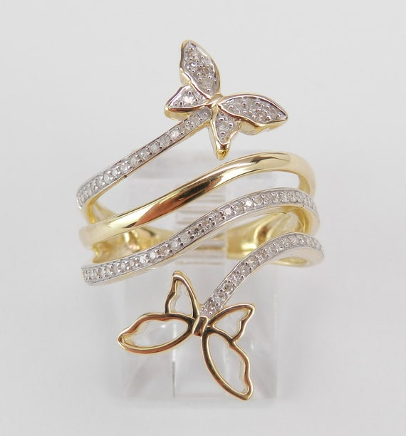 Yellow Gold Diamond Multi Row Crossover Ring Unique Butterfly Band Size 7