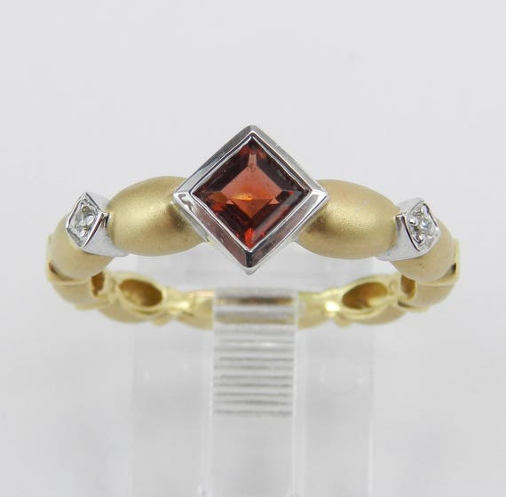 Garnet and Diamond Engagement Ring Promise 14K Yellow Gold Gold Size 6.75 January Birthstone