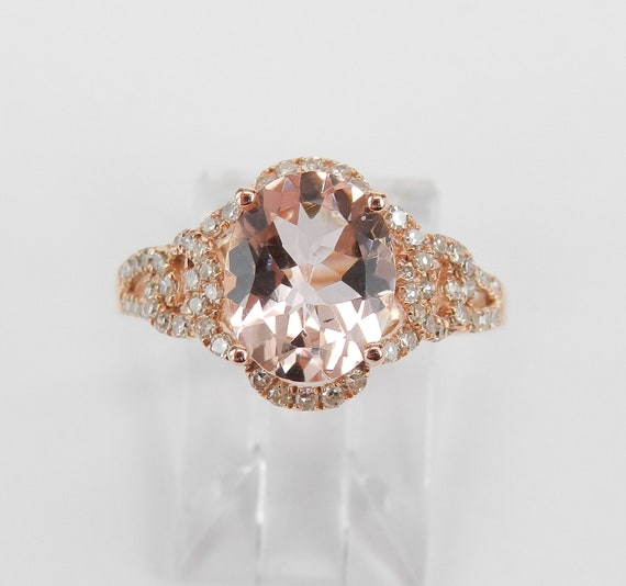 RESERVED 14K Rose Gold Morganite and Diamond Halo Engagement Ring Size 7 Pink Aquamarine Gemstone Ring