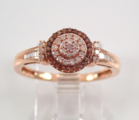 Fancy Orange and White Diamond Cluster Halo Engagement Ring Rose Gold Size 7 FREE Sizing