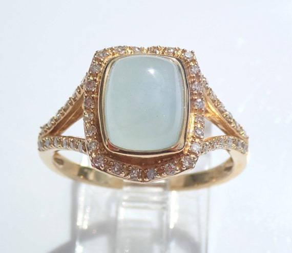 14K Yellow Gold Cushion Cut Frosted Aquamarine and Diamond Halo Engagement Ring Rectangular Cabochon March Birthstone