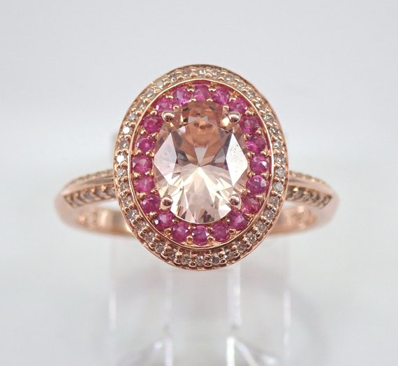 Morganite Pink Sapphire and Diamond Halo Engagement Ring 14K Rose Gold Size 7