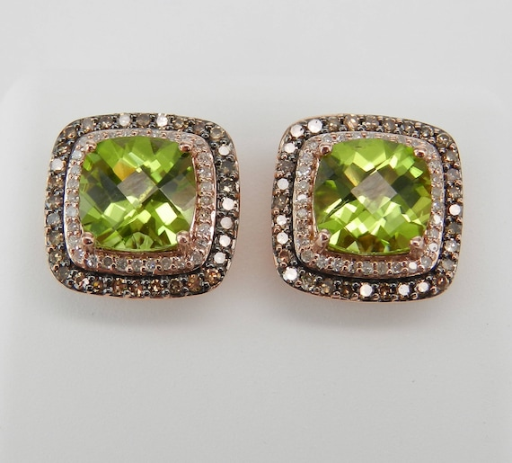 4.50 ct Peridot and Fancy Cognac Diamond Halo Rose Gold Stud Earrings August Gemstone
