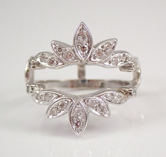 Antique 14K White Gold Diamond Wedding Ring Insert Guard Band Size 6.25 G VS