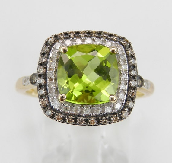 Peridot and Cognac Diamond Halo Engagement Promise Ring Yellow Gold Size 7.25 August Birthstone FREE Sizing
