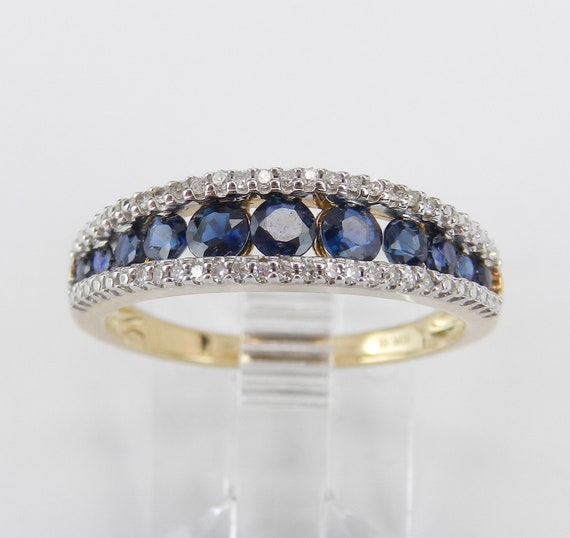 Sapphire and Diamond Wedding Ring Anniversary Band Yellow Gold Size 7 Stackable