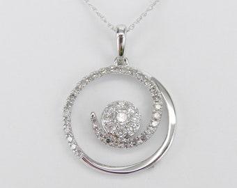 "14K White Gold Diamond Cluster Circle Drop Pendant Wedding Necklace Chain 18"""
