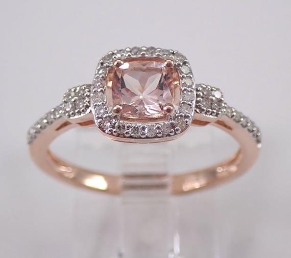 Cushion Cut Morganite and Diamond Halo Engagement Ring Rose Gold Size 7