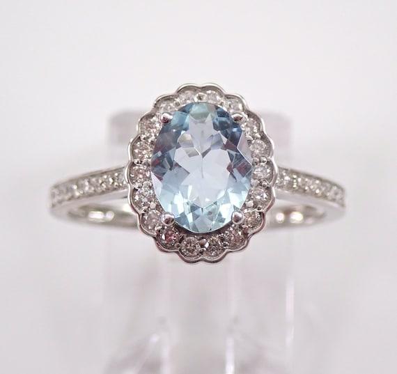 14K White Gold Diamond and Aquamarine Halo Engagement Ring Size 7.25 March Gem FREE Sizing