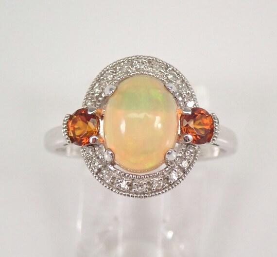White Gold Opal Diamond and Madeira Citrine Halo Engagement Ring Size 7 October Gem FREE Sizing