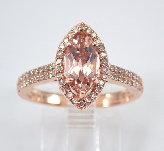 Marquise Morganite and Diamond Halo Engagement Ring Rose Gold Size 7 Pink Aqua FREE Sizing