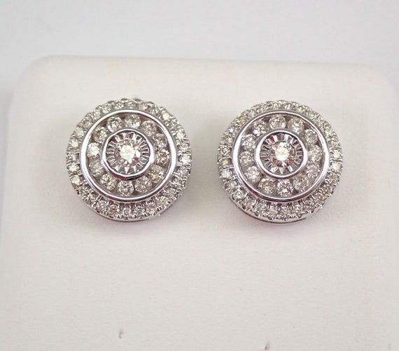 White Gold 3/4 ct Diamond Studs Cluster Halo Stud Earrings FREE SHIPPING
