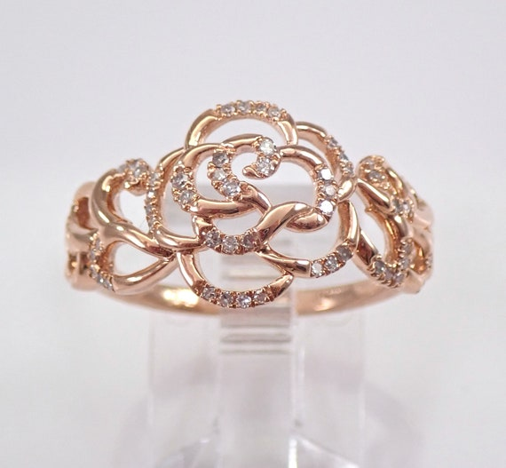 Rose Gold Diamond Flower Cluster Ring Cocktail Ring Right Hand Band Size 7.25 FREE Sizing